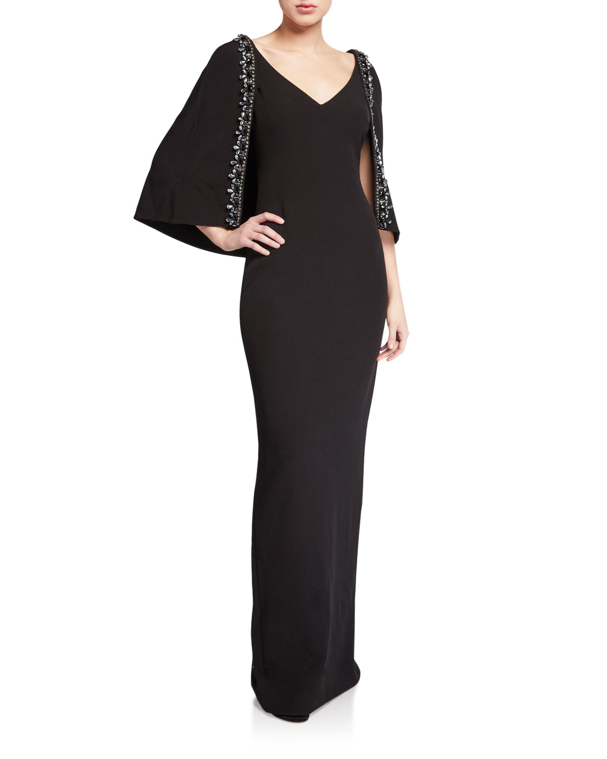 Badgley Mischka Tops V-NECK CAPE GOWN WITH BEADED TRIM