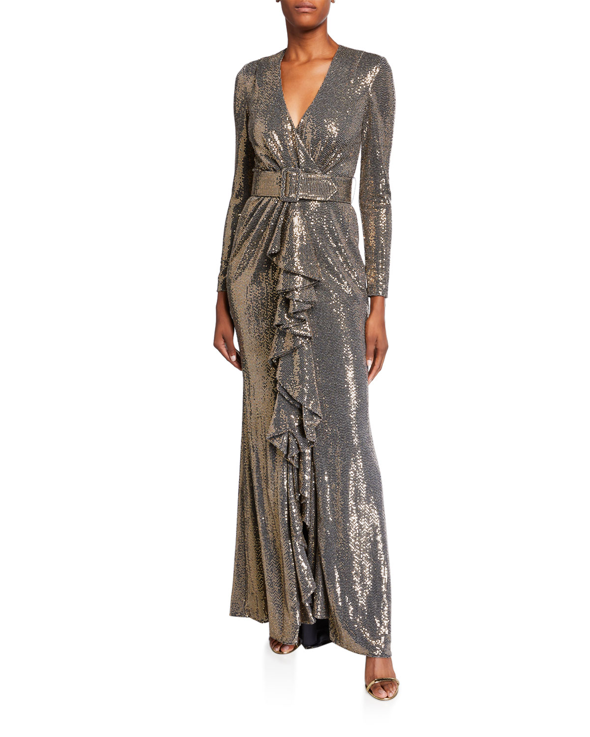 Badgley Mischka Tops SEQUIN LONG-SLEEVE BELTED GOWN WITH CASCADING RUFFLE
