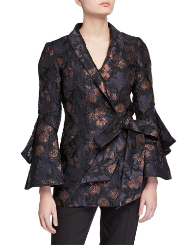 Brocade Trumpet-Sleeve Side-Tie Jacket