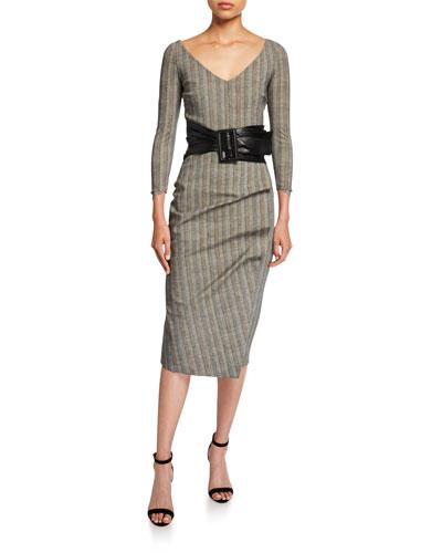 V-Neck 3/4-Sleeve Belted Herringbone Dress