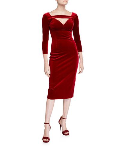 Velvet 3/4-Sleeve Deep-Neck Dress