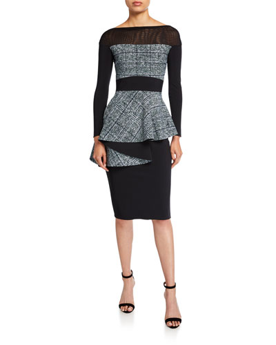 Bateau-Neck Long-Sleeve Tweed Peplum Dress