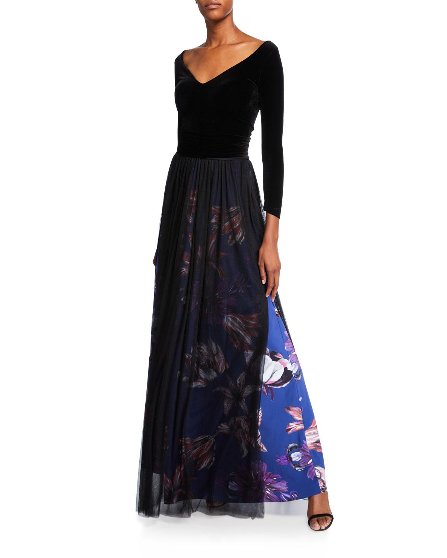Chiara Boni La Petite Robe Skirts V-NECK LONG-SLEEVE VELVET BODICE GOWN W/ SHEER OVERLAY SKIRT