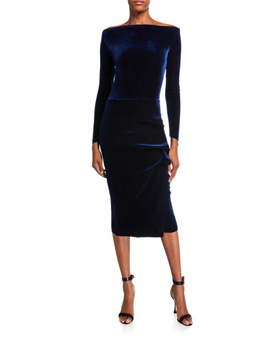 Bateau-Neck Long-Sleeve Shirred Velvet Midi Dress