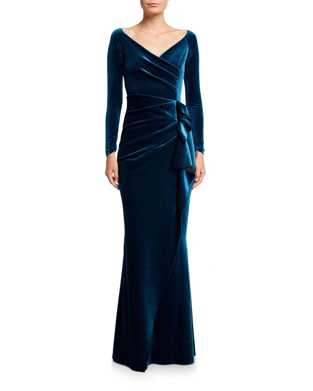 Chiara Boni La Petite Robe Tops V-NECK LONG-SLEEVE SIDE DRAPE VELVET WRAP GOWN