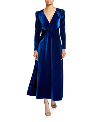 Twisted Velvet Long-Sleeve Dress