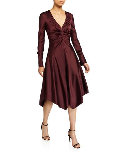 Crepe Back Satin Handkerchief Dress