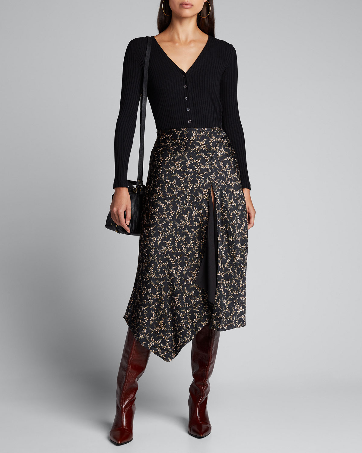 Jonathan Simkhai Skirts HAMMERED SILK HANDKERCHIEF SKIRT