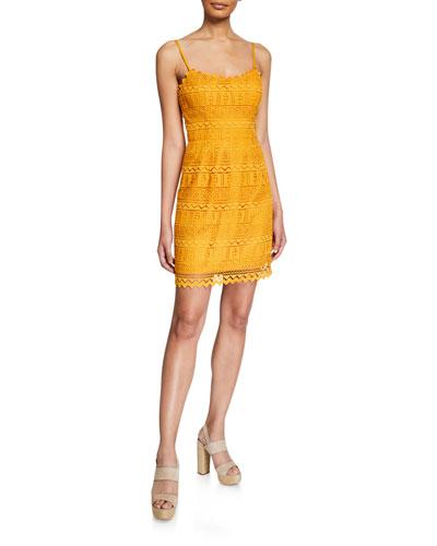 Gwen Spaghetti-Strap Mini Lace Dress
