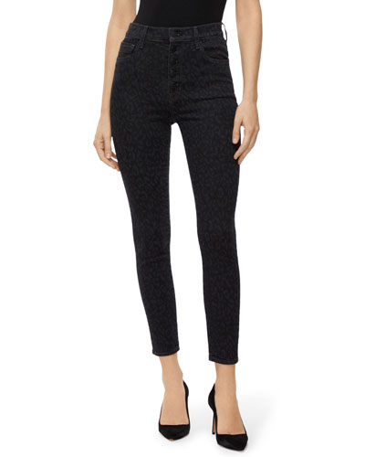 Lillie Leopard-Print High-Rise Cropped Skinny Jeans