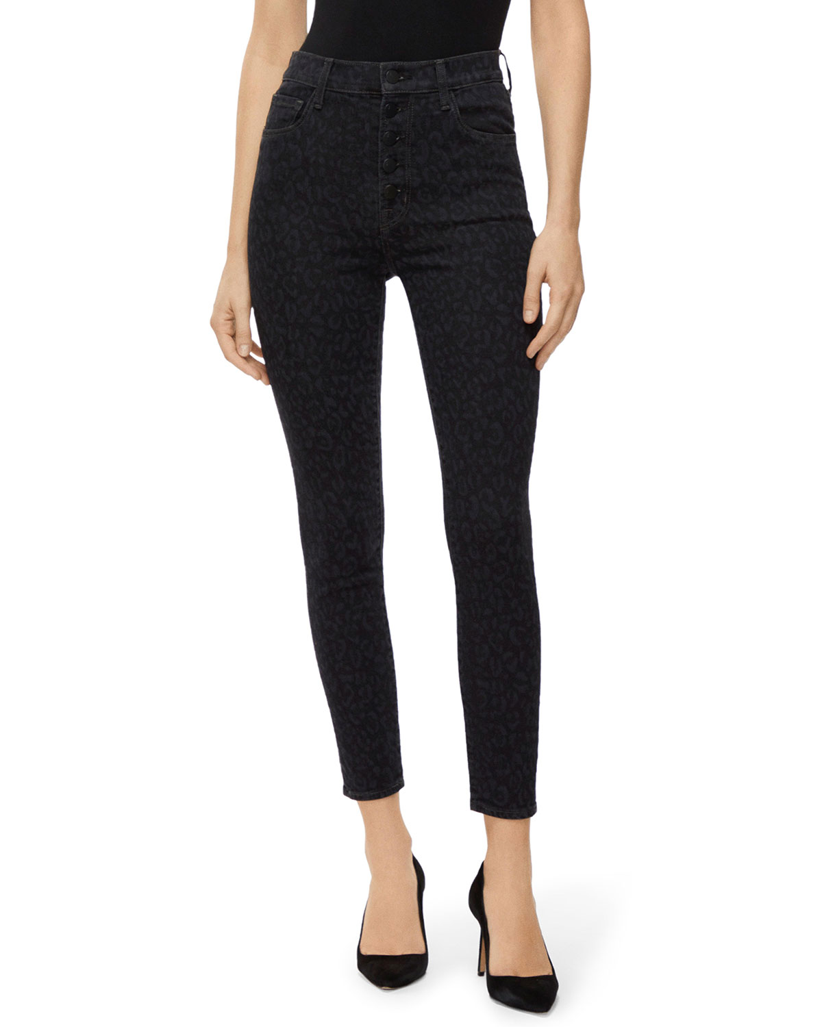 J Brand Jeans LILLIE LEOPARD-PRINT HIGH-RISE CROPPED SKINNY JEANS