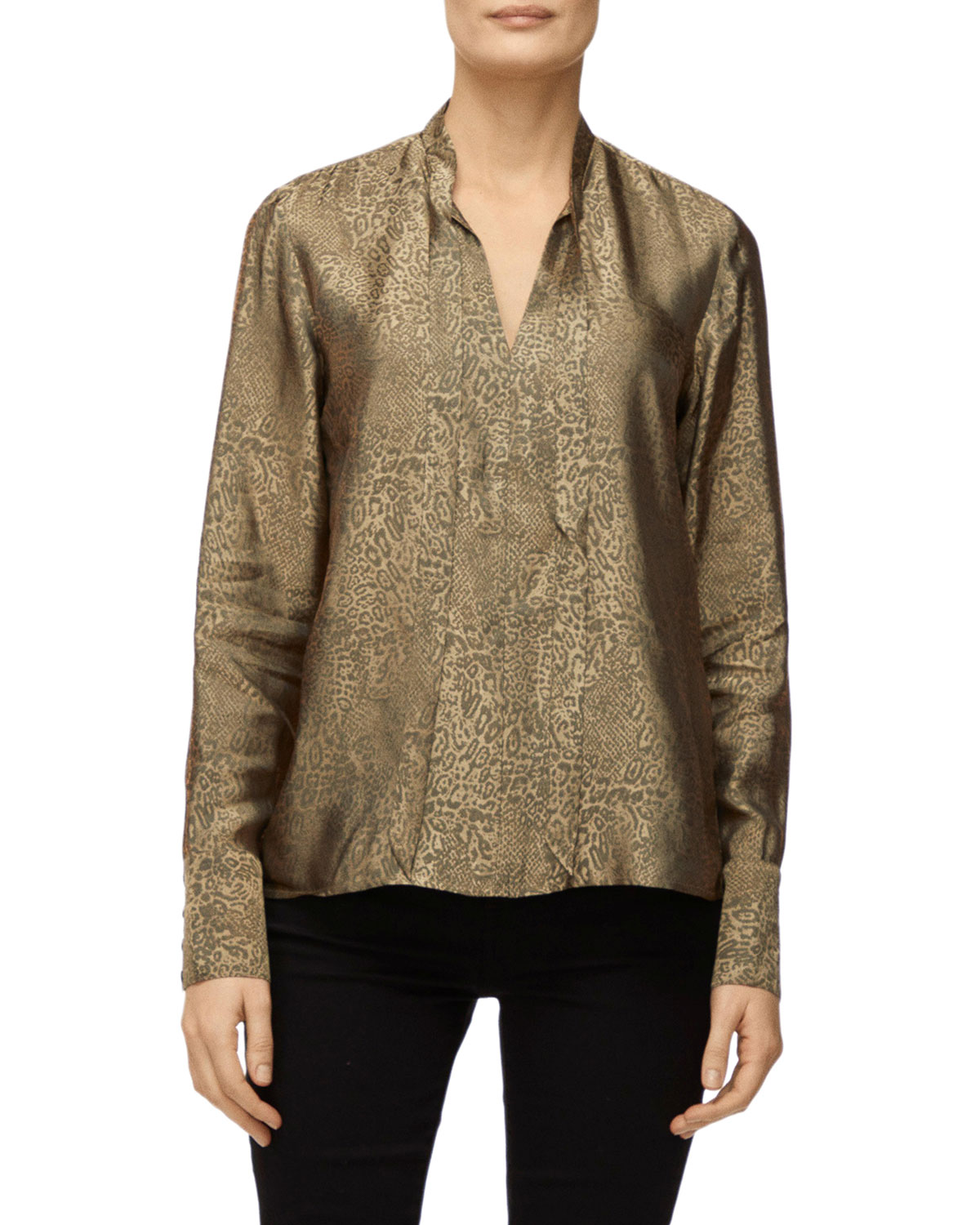 J Brand Tops MIRA PRINTED BOW TIE BLOUSE