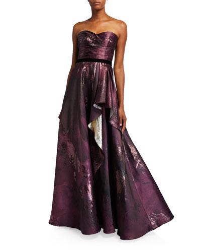 Strapless Draped Metallic Jacquard Gown w/ Velvet Ribbon Trim