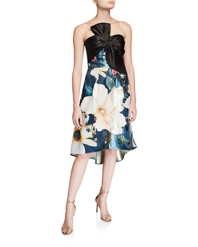 Strapless Printed Metallic Jacquard High-Low Cocktail Dress