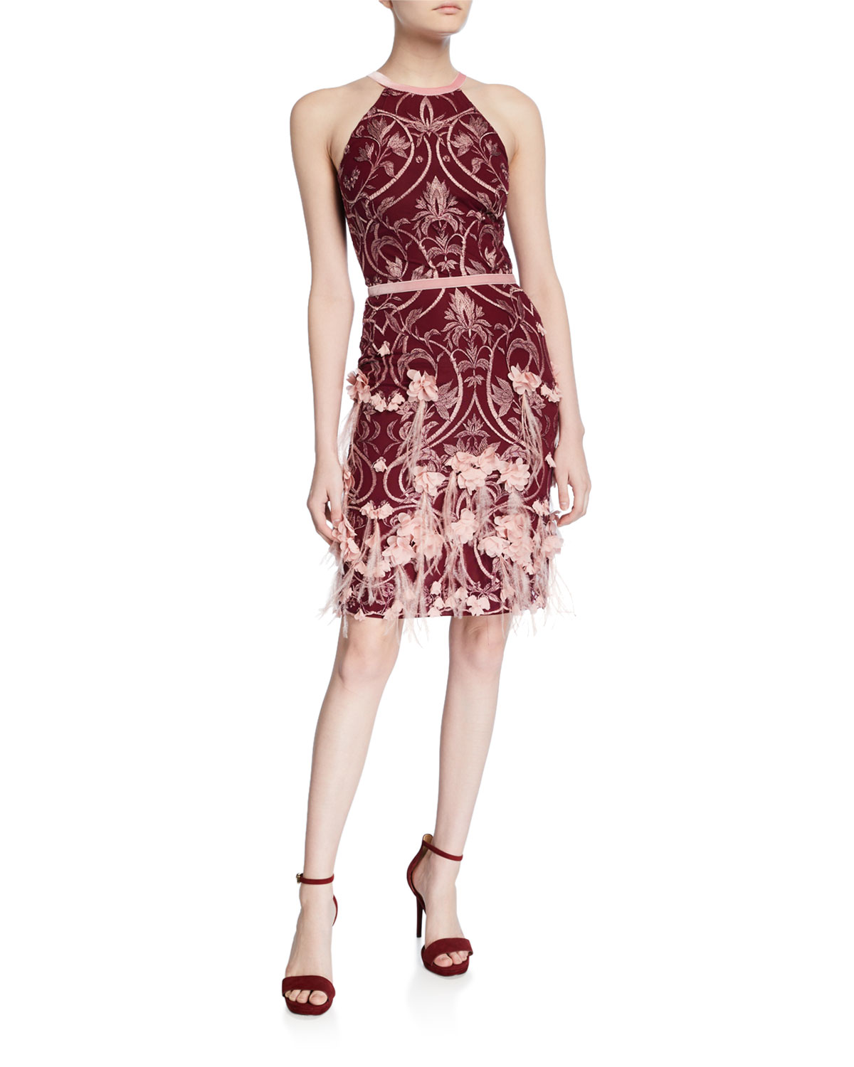 Marchesa Notte Dresses FEATHER & 3D FLOWER HALTER DRESS