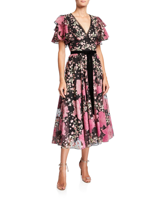 Marchesa Notte Dresses FLORAL V-NECK FLUTTER-SLEEVE EMBROIDERED COCKTAIL DRESS