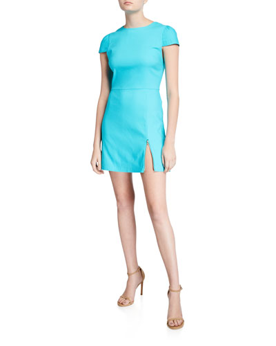 Maya Cap-Sleeve Asymmetrical Zip Mini Dress
