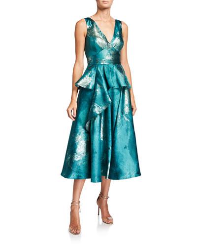 Metallic Jacquard V-Neck Sleeveless Midi Dress w/ Ruffle Detail