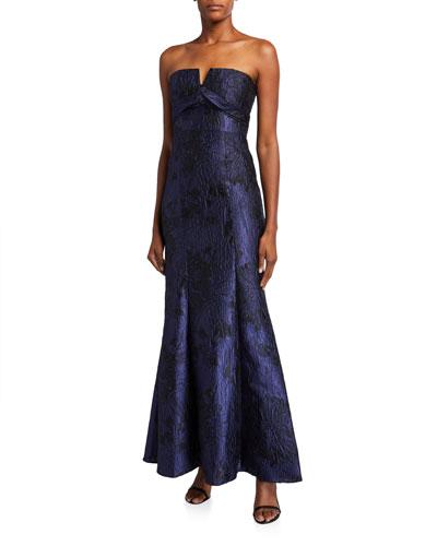 Strapless Jacquard Column Gown