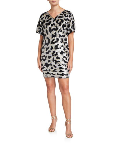 Leopard Sequin V-Neck Short-Sleeve Mini Dress
