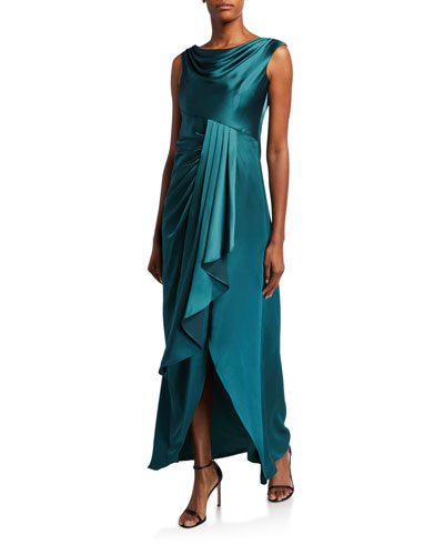 Cowl-Neck Sleeveless High-Low Draped Flounce Satin Gown