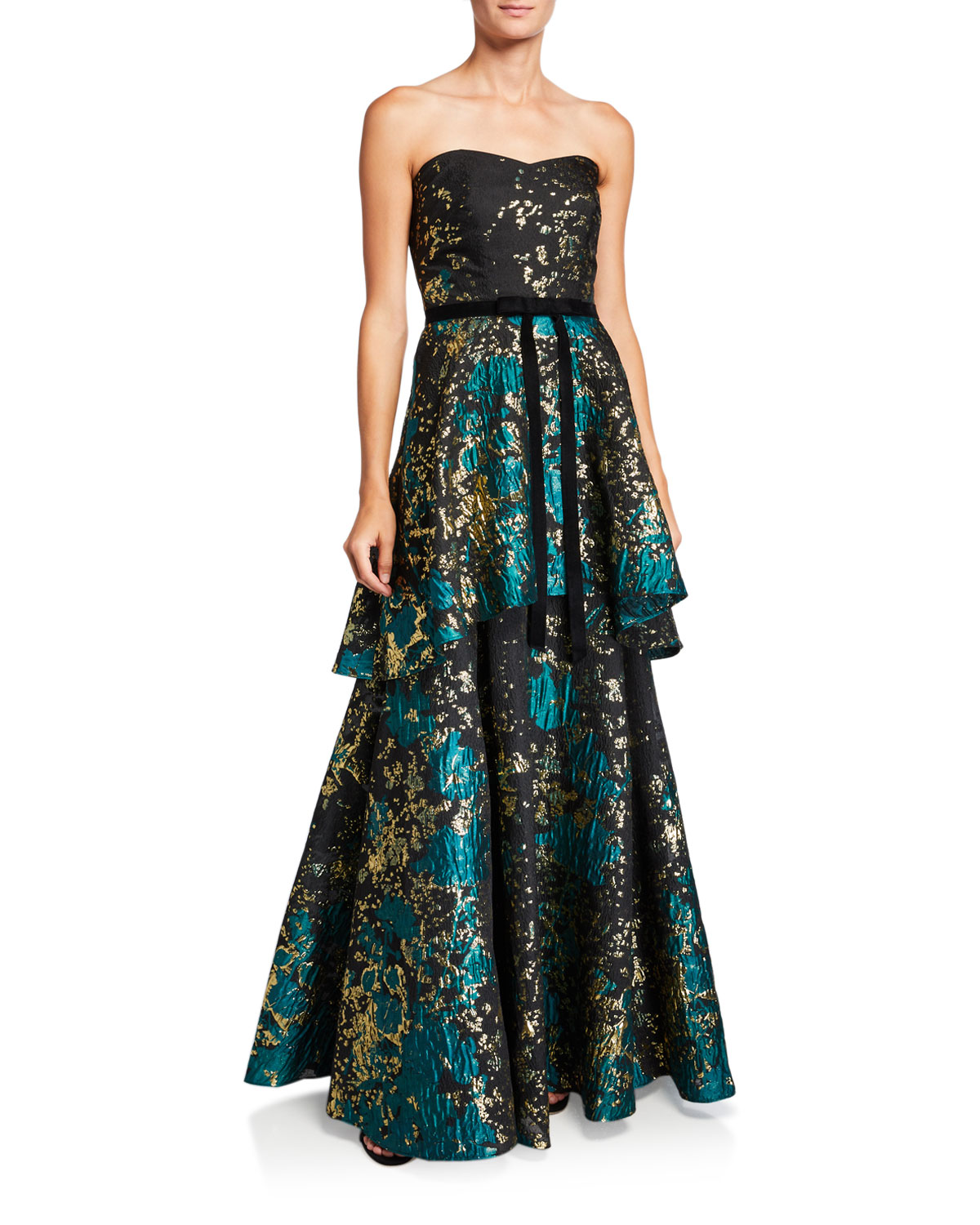 Marchesa Notte Tops STRAPLESS METALLIC FIL COUP TIERED GOWN WITH VELVET WAIST TRIM