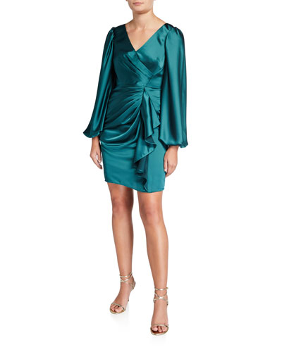 V-Neck Satin Leg Of Mutton Short Cocktail Dress