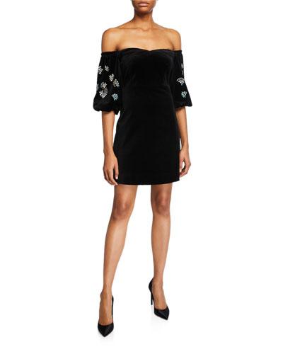Kasey Off-the-Shoulder Velvet Embellished Dress