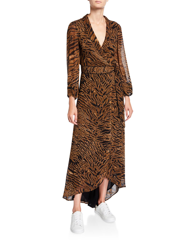 Ganni Dresses TIGER-PRINT GEORGETTE LONG-SLEEVE WRAP DRESS