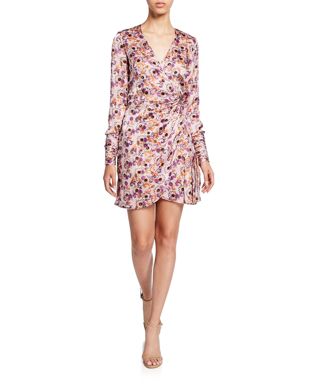 Alexis Dresses KARI FLORAL LONG-SLEEVE MINI WRAP DRESS
