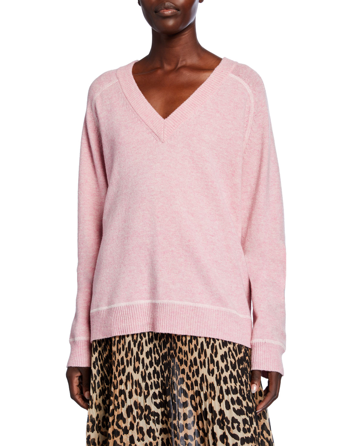 Ganni Wools V-NECK WOOL PULLOVER SWEATER