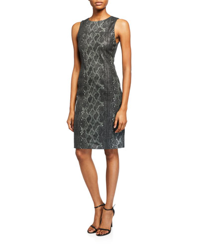 Larita Python-Print Leather Fitted Dress