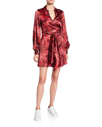 Printed Satin Long-Sleeve Wrap Dress