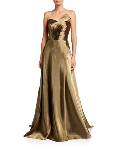 Strapless Metallic Bustier Gown