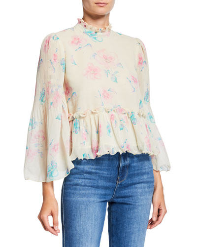 Pleated Georgette Floral High-Neck Peplum Blouse
