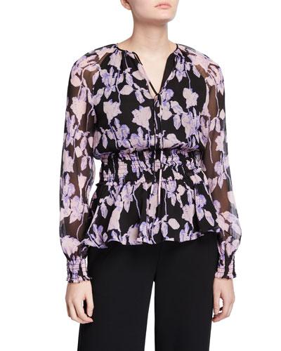 Jacie Floral Tie-Neck Silk Blouse