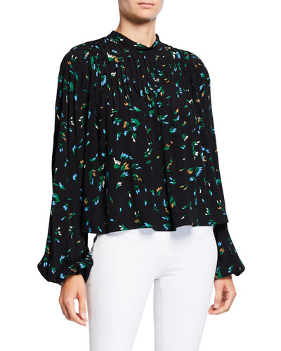 Floral-Print Pleated Crepe Top