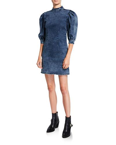 Stretch Denim High-Neck Short Dress
