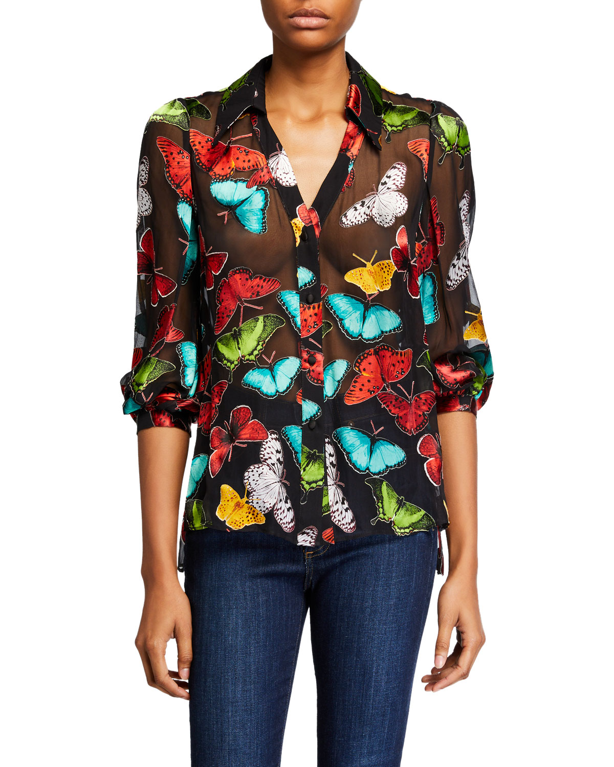 Alice And Olivia Tops SHEILA BUTTERFLY BLOUSON-SLEEVE BUTTON-FRONT TOP