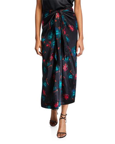 Tie-Waist Floral Satin Long Skirt