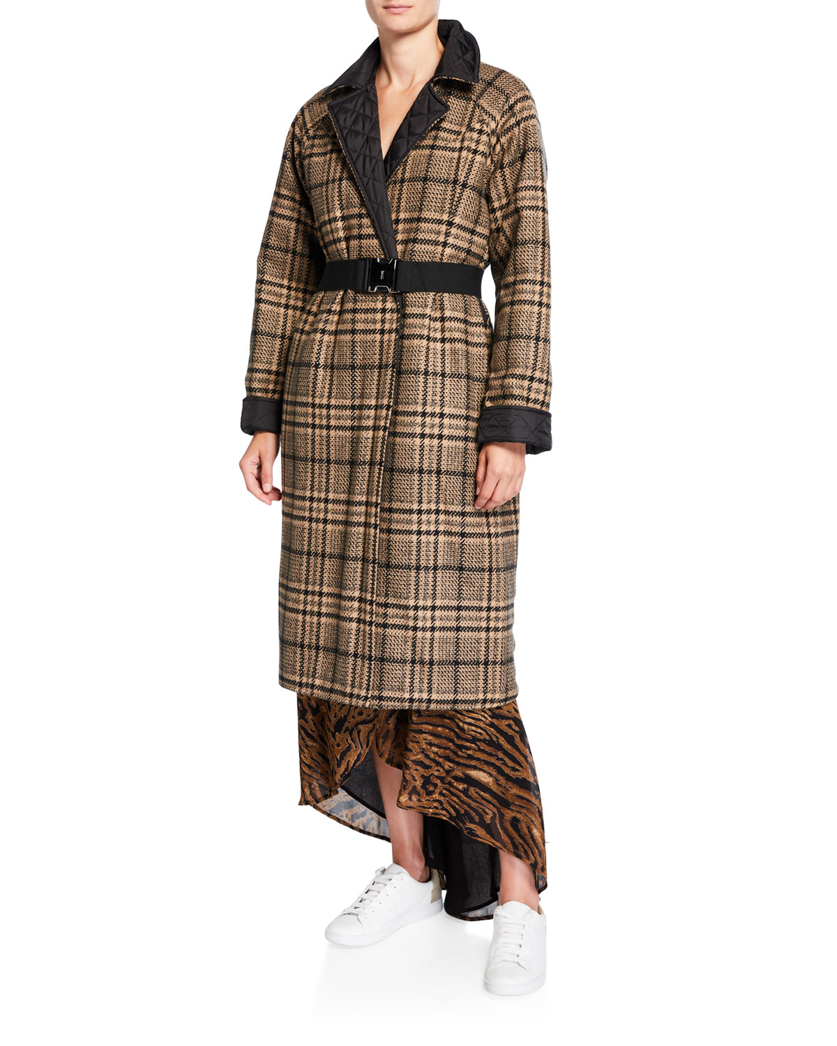 Ganni Coats REVERSIBLE QUILTED CHECK TECH WOOL COAT