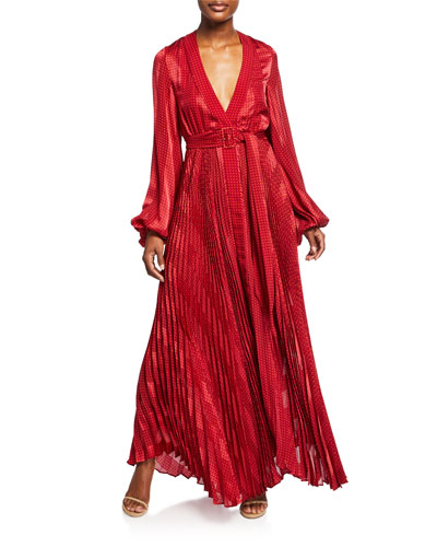 Salomo Pleated Long-Sleeve Maxi Dress w/ Belt