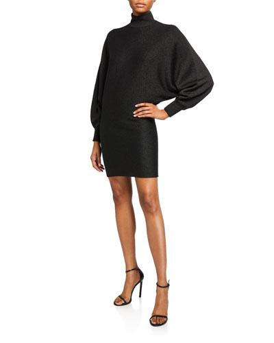 Bari Turtleneck Dolman-Sleeve Dress