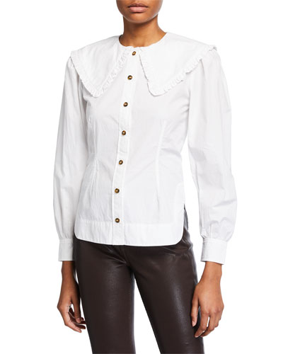 Collared Poplin Button-Front Top