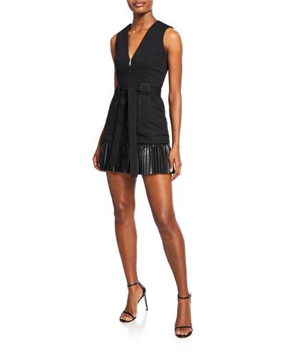 Kelsie Sleeveless Zip-Front Leather Combo Dress