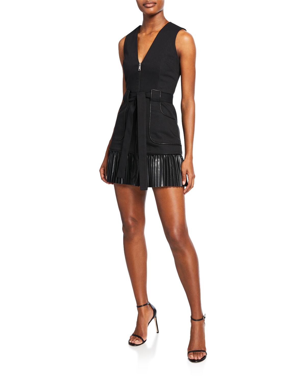 Alexis Dresses KELSIE SLEEVELESS ZIP-FRONT LEATHER COMBO DRESS