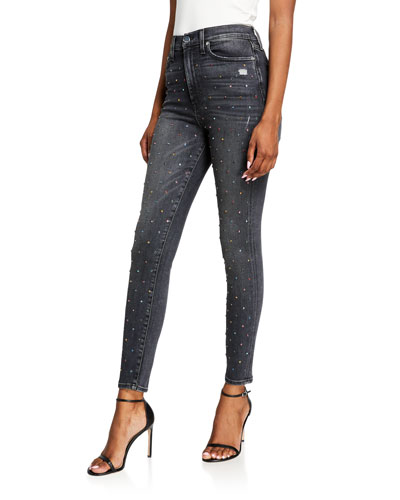 Good High-Rise Ankle Skinny Jeans w/ Rainbow Crystals