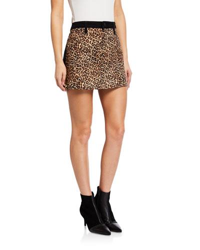 Good High-Rise Mini Skirt w/ Leopard-Print Front