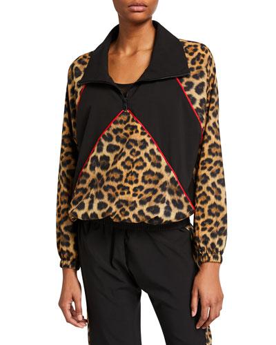 Leopard Blocked Quarter-Zip Wind-Resistant Jacket