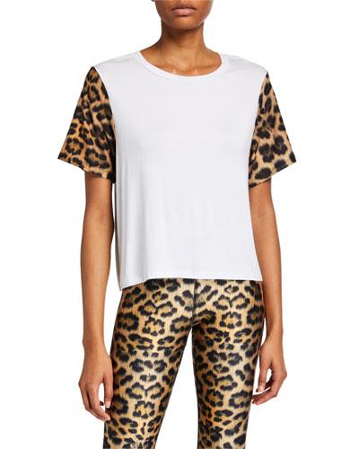Crewneck Leopard-Printed Sleeve Tee